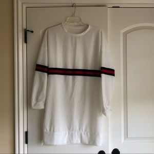 Brand new, white sweatshirt style dress w/ stripe